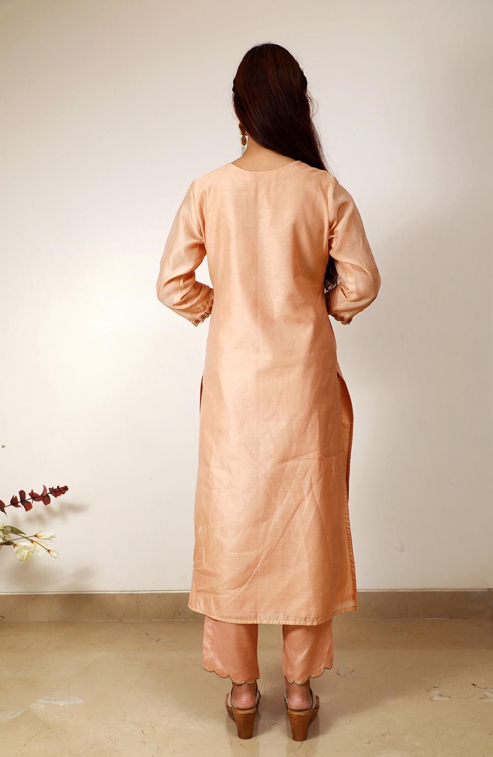 Peach Chanderi Silk Embroidered Suit Set