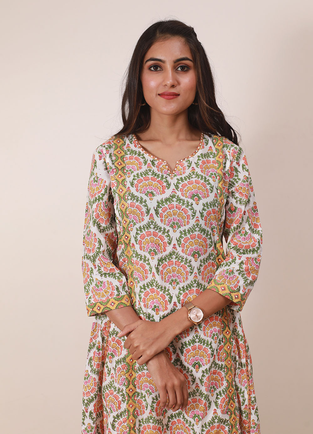 White Colorful Flower Front Sequenced Kurta