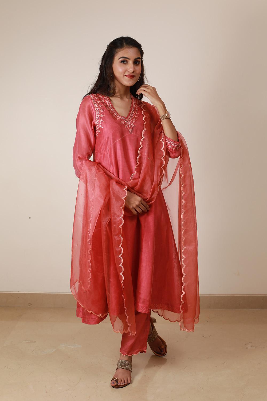 Pink Chanderi Suit Set