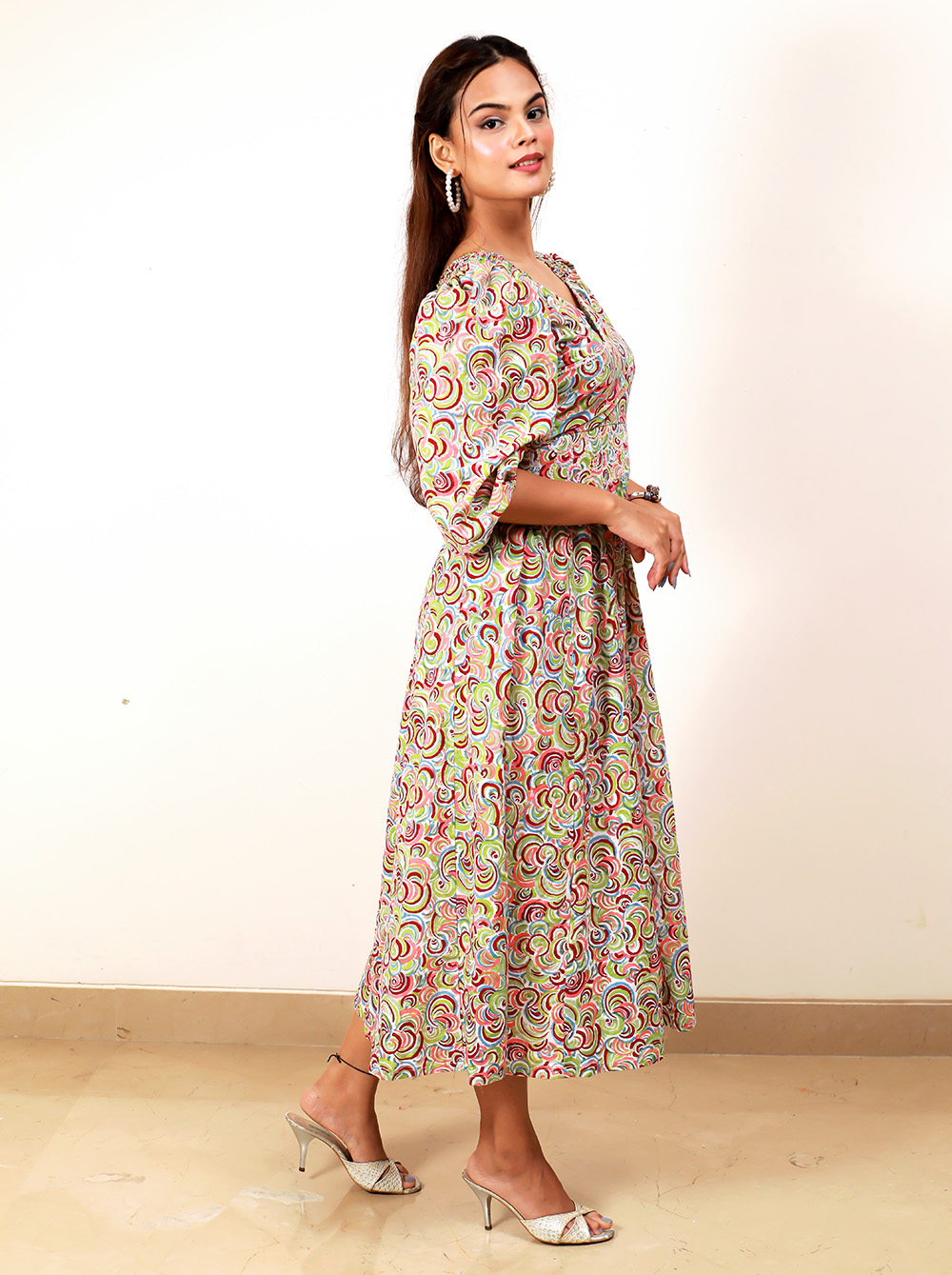 Colorful Circle Sequenced Belt Dress