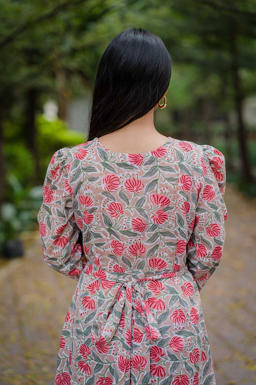 Beige Asymmetrical Wrap Dress