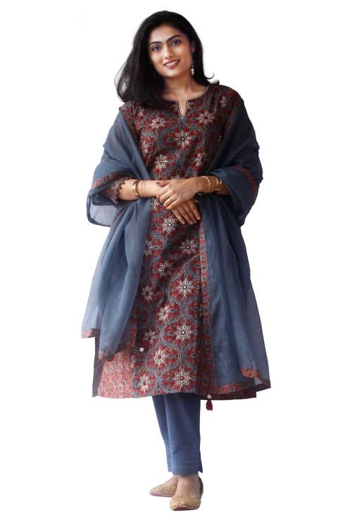 ajrakh  handcrafted block-printed suit set
