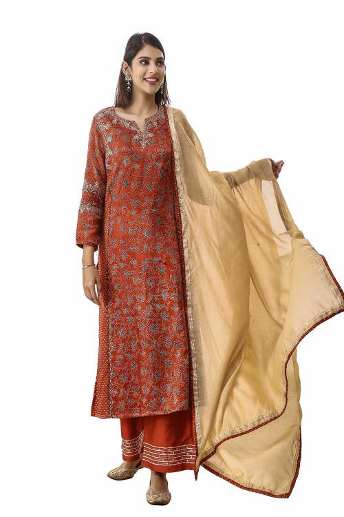 floral mushroo silk handcrafted suit set