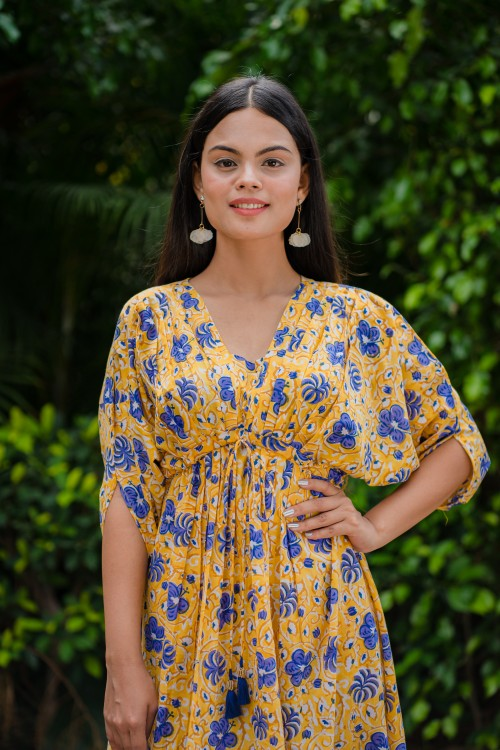 yellow floral pleated kaftan style dress