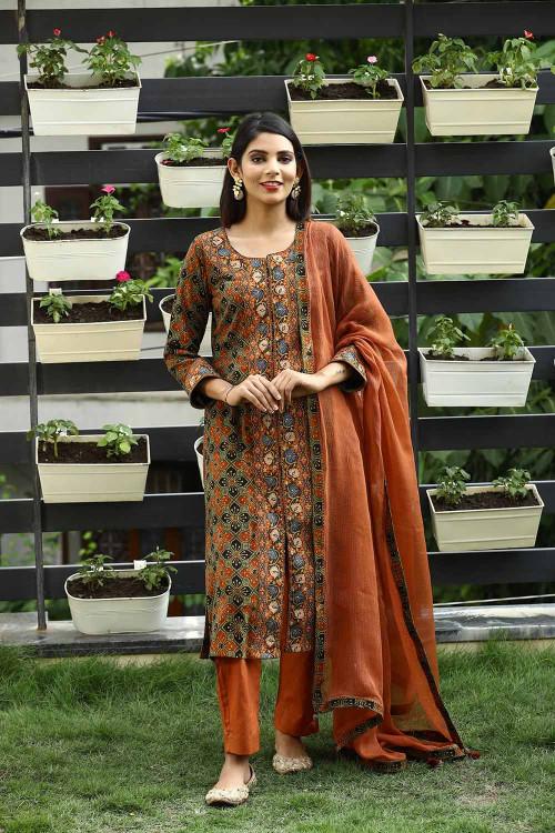 ajrakh floral silk embroidered suit set