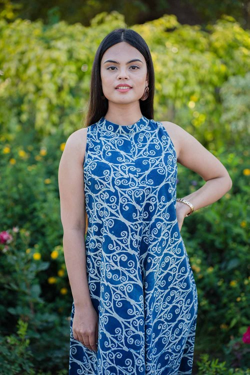 indigo and white ajrakh short dress