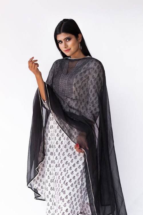 bagh black block print kurta suit set with highlighted yoke