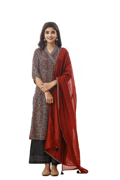 ajrakh leaf printed mushroo suit set