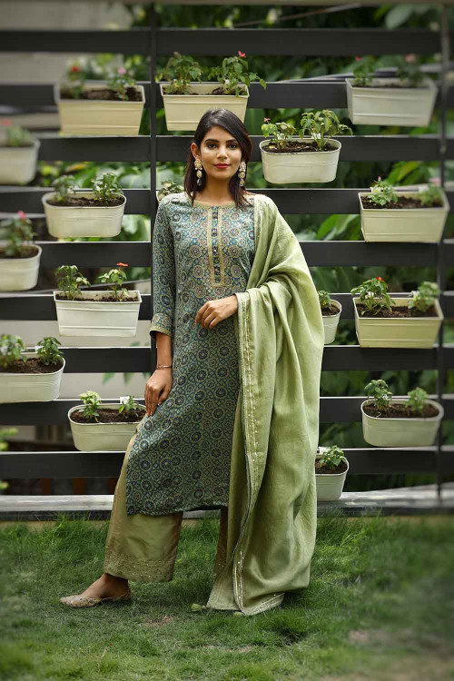 ajrakh jaal handcrafted suit set